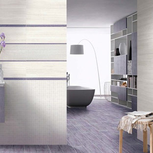 Inspiration for a large contemporary ensuite bathroom in Other with flat-panel cabinets, purple cabinets, a japanese bath, multi-coloured tiles, ceramic tiles, ceramic flooring and purple floors.