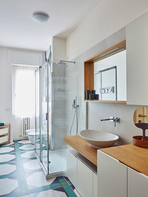 Stanza da bagno con piastrelle verdi - Foto, Idee, Arredamento