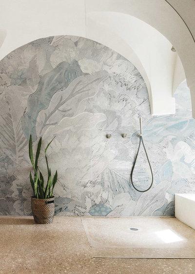 Tropical Bathroom by LondonArt wallpaper