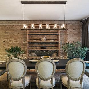 Example of an urban medium tone wood floor and beige floor great room design in Miami with brown walls