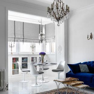 Источник вдохновения для домашнего уюта: гостиная-столовая в современном стиле с белыми стенами и белым полом