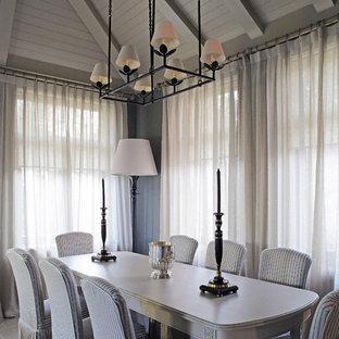 Стильный дизайн: столовая в стиле современная классика с серыми стенами - последний тренд