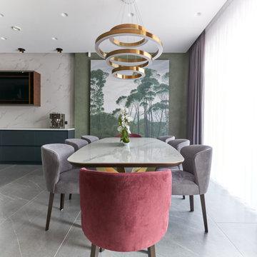 Дизайн проект дома 360 м2 Кухня-гостиная
