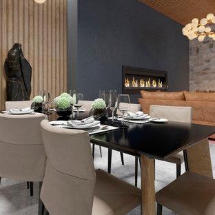 Foto de comedor contemporáneo, de tamaño medio, abierto, con paredes marrones, suelo de mármol, chimenea lineal, marco de chimenea de hormigón y suelo blanco