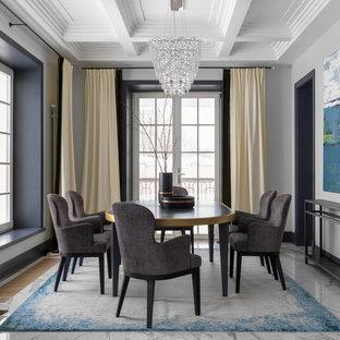 Идея дизайна: столовая в современном стиле с белыми стенами и белым полом