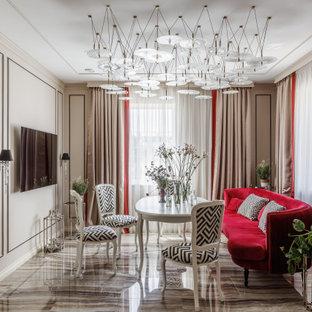 Свежая идея для дизайна: большая столовая в стиле современная классика - отличное фото интерьера