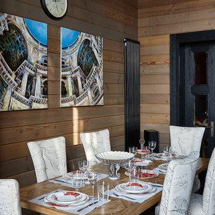 Стильный дизайн: столовая в современном стиле с бежевыми стенами - последний тренд