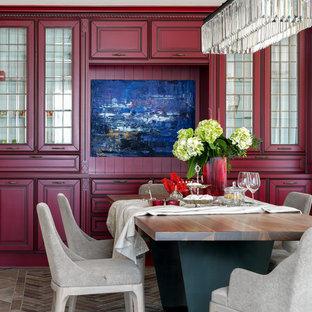 Пример оригинального дизайна: столовая в стиле современная классика без камина