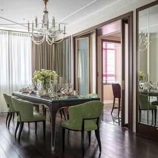 Свежая идея для дизайна: отдельная столовая среднего размера в стиле современная классика с бежевыми стенами, темным паркетным полом и коричневым полом - отличное фото интерьера
