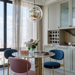 Источник вдохновения для домашнего уюта: гостиная-столовая среднего размера в стиле современная классика