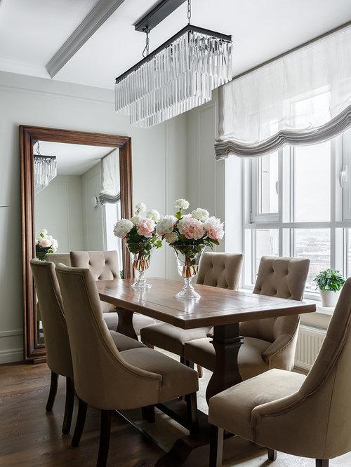 Elegant medium tone wood floor and brown floor great room photo in saint petersburg with gray