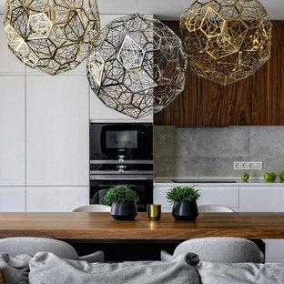 Свежая идея для дизайна: гостиная-столовая в современном стиле - отличное фото интерьера