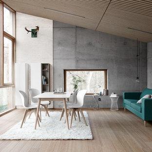 Пример оригинального дизайна интерьера: гостиная-столовая в современном стиле с светлым паркетным полом и разноцветными стенами
