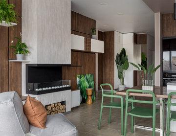 Кухня-гостиная с зеленью