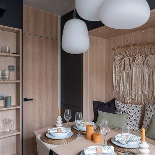 Свежая идея для дизайна: столовая в современном стиле с с кухонным уголком и белым полом - отличное фото интерьера