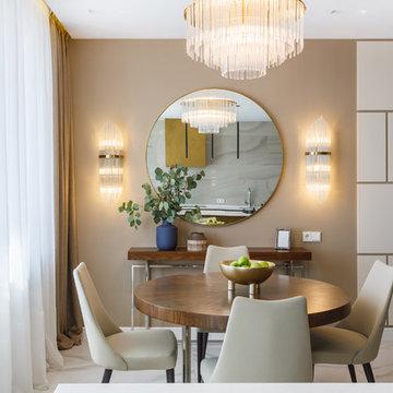Квартира с радиусными панелями и глубокими цветами