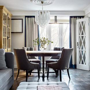 Свежая идея для дизайна: гостиная-столовая в стиле современная классика с серыми стенами, темным паркетным полом и коричневым полом - отличное фото интерьера