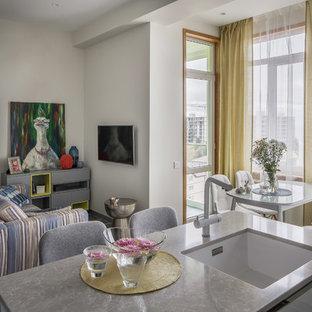 Пример оригинального дизайна: маленькая гостиная-столовая в скандинавском стиле с белыми стенами без камина