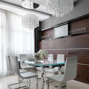 Пример оригинального дизайна: столовая в современном стиле с бежевым полом и серыми стенами без камина