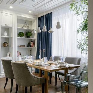 Создайте стильный интерьер: столовая в стиле современная классика с серыми стенами и паркетным полом среднего тона - последний тренд