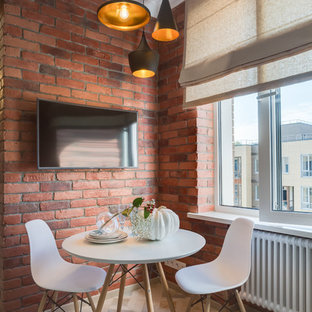 Urban beige floor kitchen/dining room combo photo in Moscow with brown walls