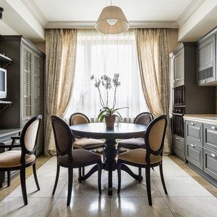 Свежая идея для дизайна: кухня-столовая в стиле современная классика - отличное фото интерьера