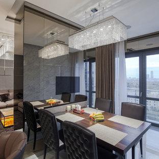 Неиссякаемый источник вдохновения для домашнего уюта: гостиная-столовая в современном стиле с белым полом