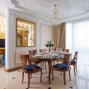 Удачное сочетание для дизайна помещения: столовая в классическом стиле с бежевыми стенами - самое интересное для вас
