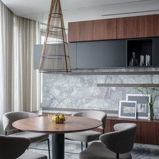 Свежая идея для дизайна: кухня-столовая в современном стиле с серыми стенами и серым полом - отличное фото интерьера