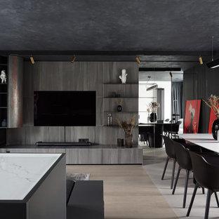 На фото: большая кухня-столовая в современном стиле с серыми стенами, печью-буржуйкой и бежевым полом с