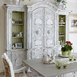 Inspiration For A Shabby Chic Style Painted Wood Floor Dining Room Remodel  In Moscow With