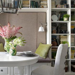 На фото: со средним бюджетом маленькие кухни-столовые в стиле современная классика с серым полом