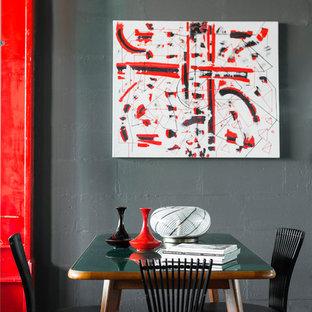 Удачное сочетание для дизайна помещения: столовая в современном стиле с серыми стенами, бетонным полом и серым полом - самое интересное для вас