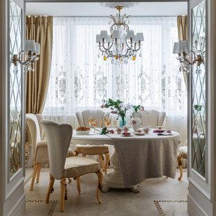 Источник вдохновения для домашнего уюта: отдельная столовая в классическом стиле с белым полом