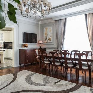 Новые идеи обустройства дома: отдельная столовая в стиле современная классика с серыми стенами и паркетным полом среднего тона