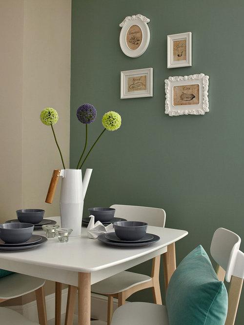 Skandinavische esszimmer mit gr ner wandfarbe ideen - Wandfarbe esszimmer ...