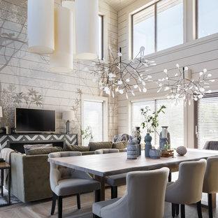 Стильный дизайн: гостиная-столовая среднего размера в современном стиле с серыми стенами, полом из керамогранита и бежевым полом - последний тренд