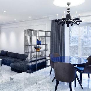Новый формат декора квартиры: гостиная-столовая в современном стиле с белыми стенами и белым полом