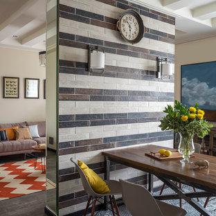 Новые идеи обустройства дома: кухня-столовая среднего размера в современном стиле с серым полом