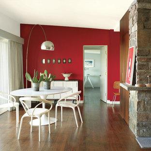 На фото: гостиная-столовая в морском стиле с красными стенами, темным паркетным полом, стандартным камином, фасадом камина из камня и коричневым полом