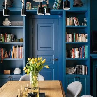 Удачное сочетание для дизайна помещения: столовая в классическом стиле с синими стенами - самое интересное для вас