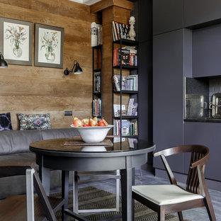 Пример оригинального дизайна интерьера: гостиная-столовая в современном стиле с коричневыми стенами, полом из керамогранита и серым полом
