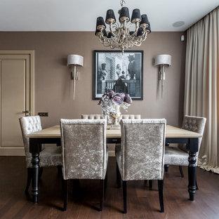 Создайте стильный интерьер: столовая в классическом стиле с бежевыми стенами и темным паркетным полом - последний тренд