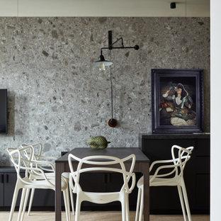 Источник вдохновения для домашнего уюта: маленькая кухня-столовая в современном стиле с серыми стенами и бежевым полом