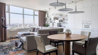 Вид из прихожей на столовую и гостиную
