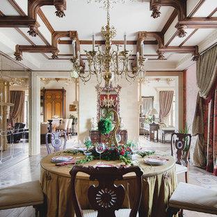 Создайте стильный интерьер: столовая в викторианском стиле с паркетным полом среднего тона - последний тренд