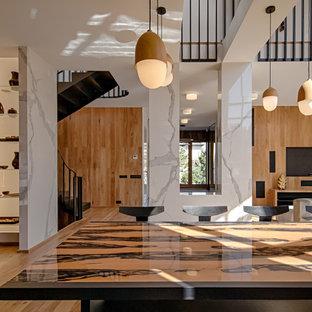 Свежая идея для дизайна: большая гостиная-столовая в современном стиле с коричневыми стенами, паркетным полом среднего тона и коричневым полом - отличное фото интерьера