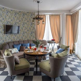 Удачное сочетание для дизайна помещения: столовая в стиле современная классика с разноцветным полом - самое интересное для вас