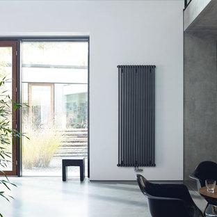 Идея дизайна: столовая в современном стиле с белыми стенами и серым полом