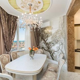 Новый формат декора квартиры: кухня-столовая в классическом стиле с разноцветными стенами